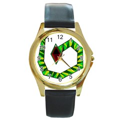 Decorative Snake Round Gold Metal Watch