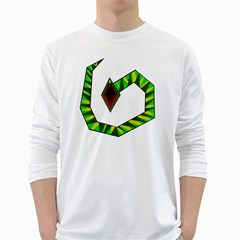 Decorative Snake White Long Sleeve T Shirts