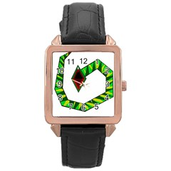 Decorative Snake Rose Gold Leather Watch