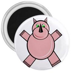 Pink Rhino 3  Magnets