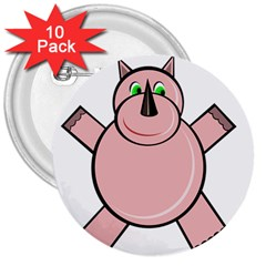 Pink Rhino 3  Buttons (10 pack)