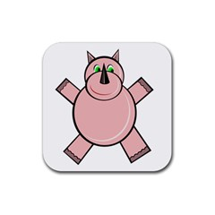 Pink Rhino Rubber Square Coaster (4 pack)