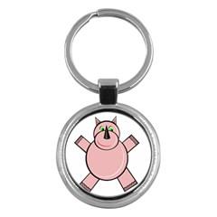 Pink Rhino Key Chains (Round)