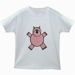 Pink Rhino Kids White T-Shirts