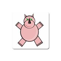 Pink Rhino Square Magnet