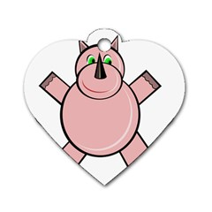 Pink Rhino Dog Tag Heart (Two Sides)