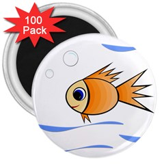 Cute Fish 3  Magnets (100 pack)