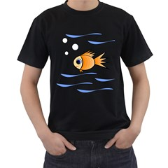 Cute Fish Men s T-Shirt (Black) (Two Sided)
