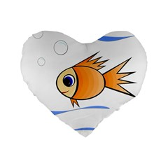 Cute Fish Standard 16  Premium Heart Shape Cushions