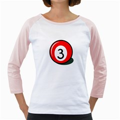 Billiard ball number 3 Girly Raglans