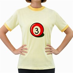 Billiard ball number 3 Women s Fitted Ringer T-Shirts