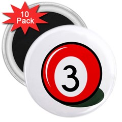 Billiard ball number 3 3  Magnets (10 pack)