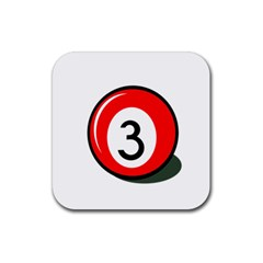 Billiard ball number 3 Rubber Coaster (Square)