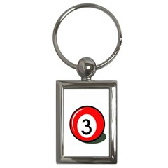 Billiard ball number 3 Key Chains (Rectangle)