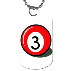 Billiard ball number 3 Dog Tag (One Side)