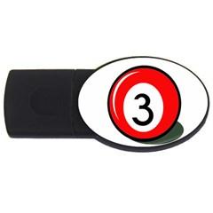 Billiard ball number 3 USB Flash Drive Oval (2 GB)