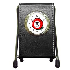 Billiard ball number 3 Pen Holder Desk Clocks