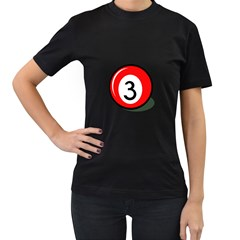 Billiard ball number 3 Women s T-Shirt (Black) (Two Sided)
