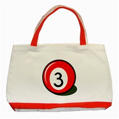Billiard ball number 3 Classic Tote Bag (Red)