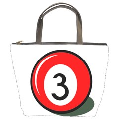 Billiard ball number 3 Bucket Bags