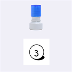 Billiard ball number 3 Rubber Round Stamps (Small) 1.12 x1.12  Stamp