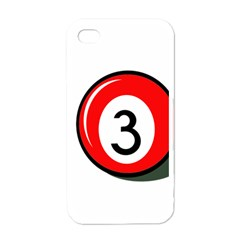 Billiard ball number 3 Apple iPhone 4 Case (White)