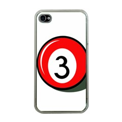 Billiard ball number 3 Apple iPhone 4 Case (Clear)