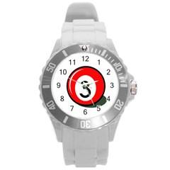 Billiard ball number 3 Round Plastic Sport Watch (L)