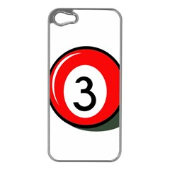 Billiard ball number 3 Apple iPhone 5 Case (Silver)