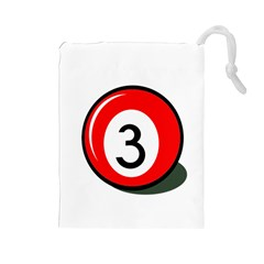 Billiard ball number 3 Drawstring Pouches (Large)