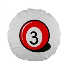 Billiard ball number 3 Standard 15  Premium Flano Round Cushions