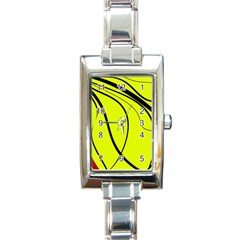 Yellow decorative design Rectangle Italian Charm Watch