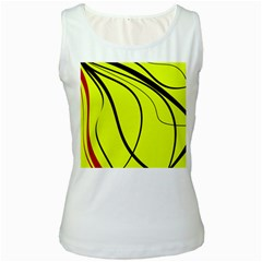 Yellow decorative design Women s White Tank Top
