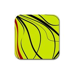 Yellow decorative design Rubber Square Coaster (4 pack)
