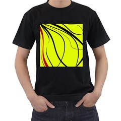 Yellow decorative design Men s T-Shirt (Black) (Two Sided)