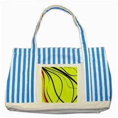Yellow decorative design Striped Blue Tote Bag