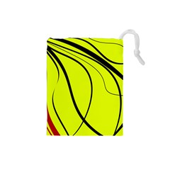 Yellow decorative design Drawstring Pouches (Small)