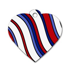 Decorative Lines Dog Tag Heart (Two Sides)