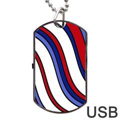 Decorative Lines Dog Tag USB Flash (One Side)