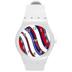 Decorative Lines Round Plastic Sport Watch (M)