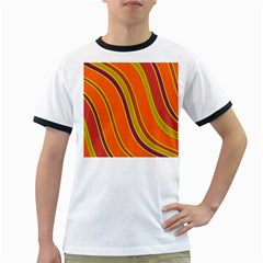Orange lines Ringer T-Shirts