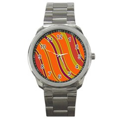 Orange lines Sport Metal Watch
