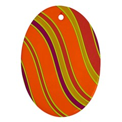 Orange lines Oval Ornament (Two Sides)