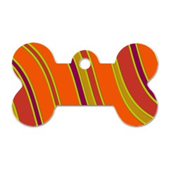 Orange lines Dog Tag Bone (Two Sides)