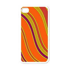 Orange lines Apple iPhone 4 Case (White)