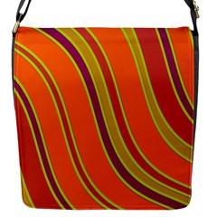 Orange lines Flap Messenger Bag (S)