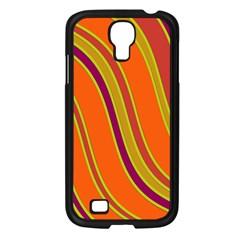 Orange lines Samsung Galaxy S4 I9500/ I9505 Case (Black)