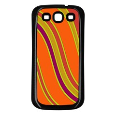 Orange lines Samsung Galaxy S3 Back Case (Black)