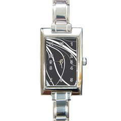 Black and white elegant design Rectangle Italian Charm Watch
