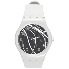 Black and white elegant design Round Plastic Sport Watch (M)